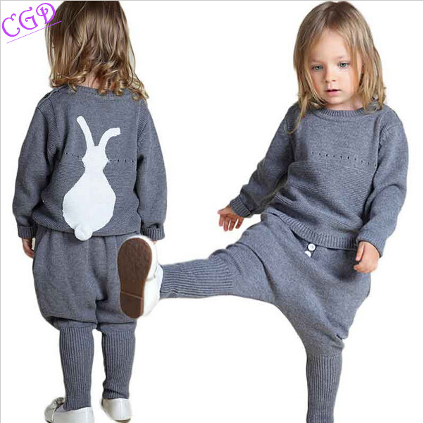 Kids Sweaters 2017 Winter Spring Girls Clothes Baby/Children Fashion Boys Clothing Little Rabbit Embroidered Knitting Wool Suit<br><br>Aliexpress