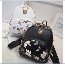 2017 New Fashion Flower Butterfly Print Women's Leather Backpack Rivet Girls Bag Mini Travel Backpack(China)