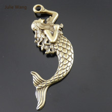 Julie Wang 2pcs Mini Charms Fashion Jewelry Alloy Retro Bronze Mermaid Pendant Charm(China)