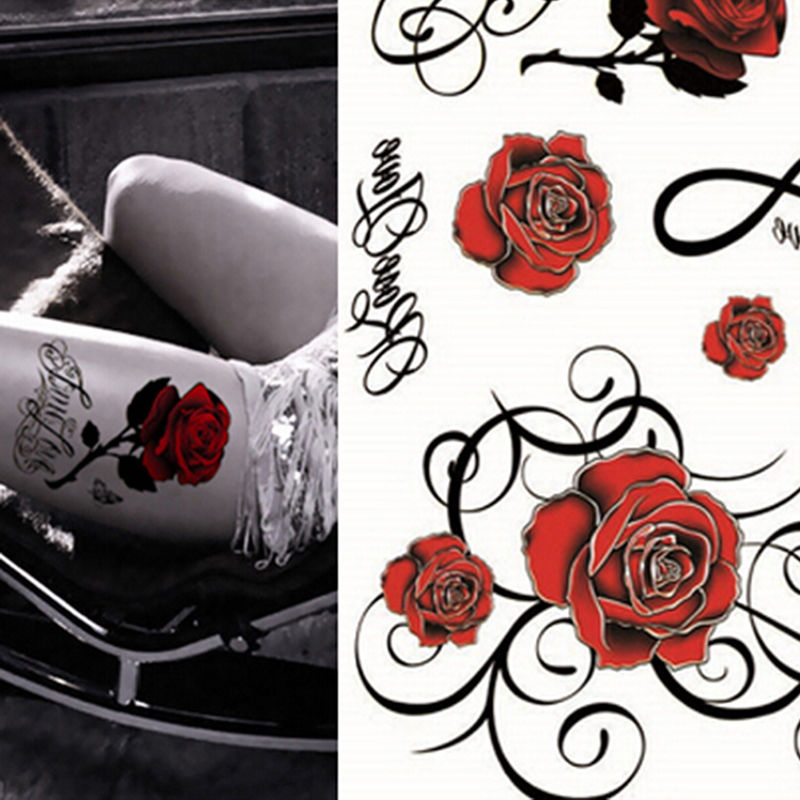 Shellhard 3D Rose Tattoo Sticker Waterproof Sexy Women Temporary Big Rose Tattoo Stickers For Body Art Arm Legs 21.5cm x 15.5cm