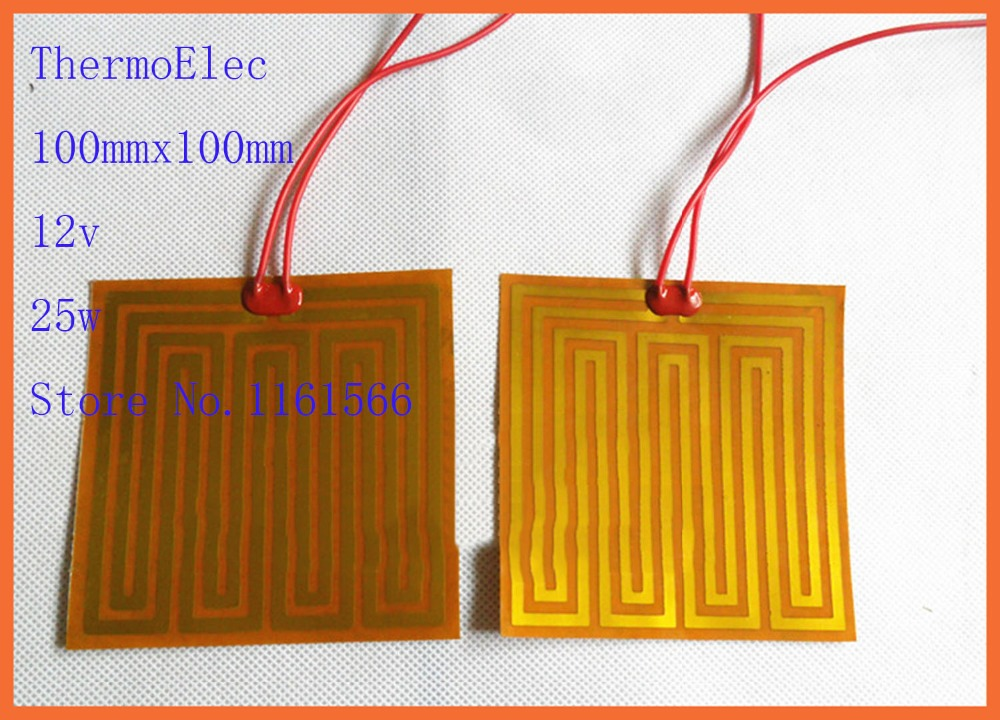 100mmx100mm 12v 25w element heating PI film polyimide heater heat rubber electric 3D priner Automobile oil pan heating flexible<br>