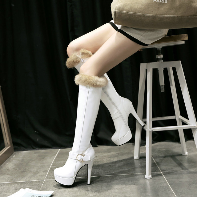 2017 New style Winter Sexy High Heel Female Knee High Boots Platform Thin Heel Women Long Boots Large Size 34-43 Black, white<br><br>Aliexpress