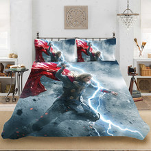 Marvel HD 3D Print Superhero Raytheon Thor Bedding set Bedclothes Include Duvet Cover Pillowcase Print Home Textile Bed Linens(China)