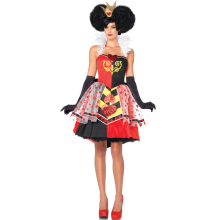 2017 New Halloween Adult Womens Poker Red Queen of Hearts Princess Costume Fancy Game Dress Alice In Wonderland Carnival Uniform(China)