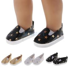 Pair of Casual Star Printed Slip-on Shoes for 18'' American Girl Journey Dolls Dress Up Accessories