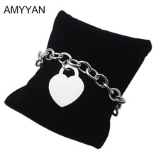 Famous Brand Chain & Link Bracelets Love Heart Lock Link Chain Chunky Bracelets & Bangles For Women Men Can be Engrave Name on