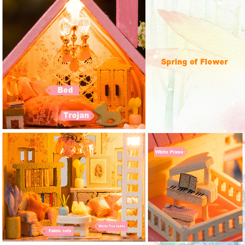 DIY Room Fashion Wooden Assembled Mini Cottage Miniature Happy Ferris Wheels One Set Doll House Furniture Wood Miniatura Toys (7)
