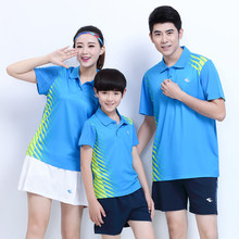 adsmoney brand family's set Patchwork Short Sleeves Polo Collar Sport Shirt Quick Dry Tee Badminton tennis Top Suit Man Woman