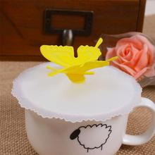 Butterfly Silicone Leakproof Coffee Mug Suction Lid Cap Airtight Seal Cup Cover Cup Lid drop shipping #XG10(China)