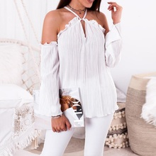 Buy Women Sexy Spaghetti Halter Long Sleeve Shirt Shoulder Blouse Solid Color 2018 Autumn Casual Flare Sleeve Chiffon Blouse
