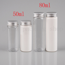 (50pcs)50ml/80ml  transparent mask bath salt test PET tube with aluminum cap 50cc Empty travel cosmetic packing bottle