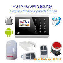 Gsm Alarm System or PSTN Alarmas Casas Home House Security Sms Call App Control Touch panel EN, RU, FR, and SP Languages.