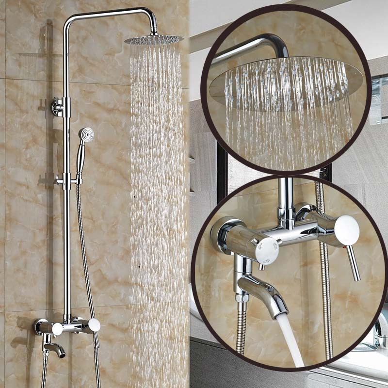Polished Chrome Wall Mount Rainfall Shower Faucet System Single Handle with Handshower + Tub Spout<br><br>Aliexpress