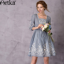 Artka Women's 2017 Summer Vintage Solid Color Embroidery Dress Fashion Puff Sleeve Drawstring Waist Comfy Dress LA11776X(China)