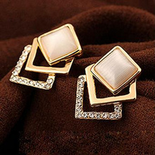 TOMTOSH 18KG Plated 2016 New Style Korean Temperament OL Fashion Sparking Rhinestone 18KGP Geometry Square Opal Stud Earrings