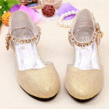 2017 Children Glitter Sandals Kids Girls Wedding Shoes High Heels Princess Dress Shoes Party Shoes Gold/Pink /Blue/Silver(China)