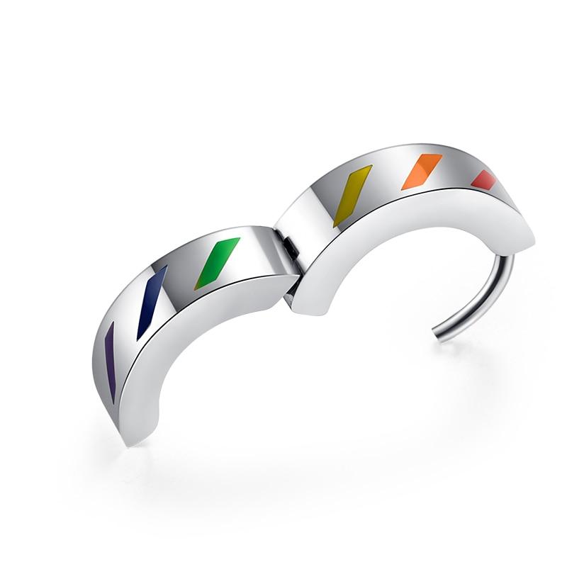 Flag Striped Men Wedding Rainbow Print Titanium Steel Gay Jewelry Ring