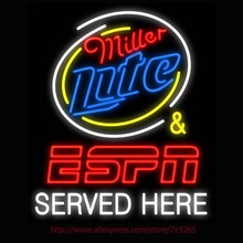 Neon Sign Miller Lite & ESPN Served Here Real Glass Tube Handcrafted neon signs Recreation Windows Wall Signs Super Bright 31x24(China)