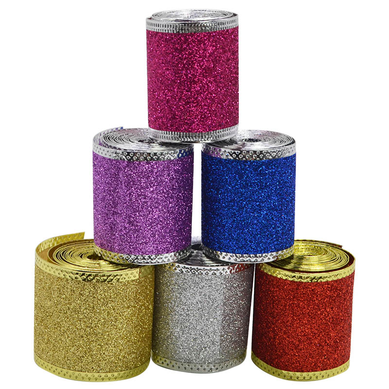 2M/roll 5CM Christmas Ribbon Gold Silver Red Non-Woven Glitter Gift Wrap Ribbon for DIY Christmas Tree Ribbon Bow Decorations