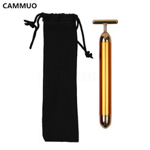 CAMMUO Slimming Face 24k Gold Vibration Facial Beauty Roller Massager Stick Lift Skin Tightening Wrinkle Bar Face with Black Bag(China)