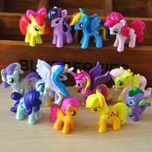 Free shipping 12pcs My Anime Princess Celestia Twilight Sparkle Rainbow Dash Unicorn Rarity Kunai Horse Figures toys for gift