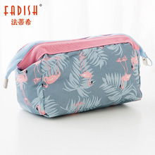 FADISH Cosmetic Bag Travel Floral Printed Women Makeup Bags Female Zipper Cosmetics Bag Portable Travel Make Up Case Pouch