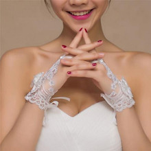 1 Pairs Luxury Wedding Bridal Lace Rhinestone Gloves Accessory Party Decoration Summer Winter Fall Props