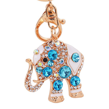 Elephant Rhinestone Keychain Charm Women Handbag Keyring Crystal Lover Key Holder Bag Accessory Valentine Gift K49