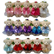 Baby Girl Plush Toys Flower Bouquets Accessory Mini Model Candy Color Toys 50PCS 12CM Bears For Wedding Party Home Decoration