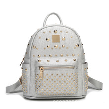 College style new fashion ladies backpack students small backpacks rivets pu leather for girls casual