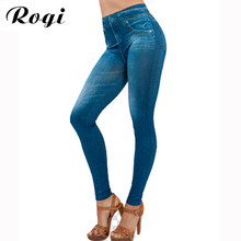 Rogi Women Skinny Jeans 2017 Spring Women's Leggings Jean Girls With Pockets Female Slim Fitness Denim Pants Plus Size Clothing