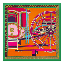 2017 New French Horses Carriage Wheels Print Pure Silk Scarf Warp Knitting Jacquard Weave Sqyare 60cm Plain Silk Scarves