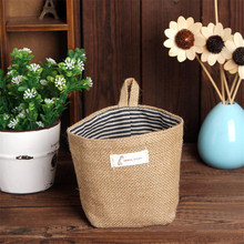 Zero Stripe Small Storage Sack Cloth Hanging Non Woven Storage Basket Bag(China)