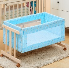 Solid wood I-shaped small-sized logs Cradle bed Removable with mosquito net Simple baby crib(China)