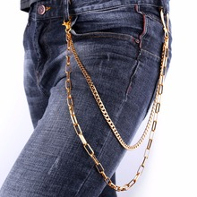 New Fashion 2017 Hiphop Punk Waist Chain Jewelry 2 Layer Gold Color Cuban/Cable Chain For Men Belly Pant Chains Gift BC2324(China)