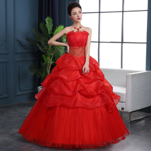 YC73H#2017 spring Autumn Wedding dress new bride wedding dress code Korean women slim lace special offer wedding gown red