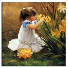 1 PCS Mediterranean Style Portraits Painting Prints on Canvas The Little Girl Picking Flowers Wall Art Picture for Kids Room