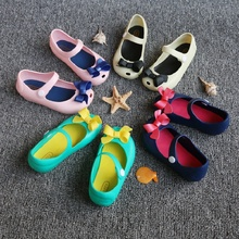 Mini Melissa Girls Jelly Sandals 2017 kids sandals jelly shoes Satin bow PVC soft outsole children sandals Rain shoes(China)