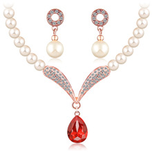 crystal jewelry sets women girls gold silver color african beads nigerian wedding bridal round necklace earrings jewellery set(China)