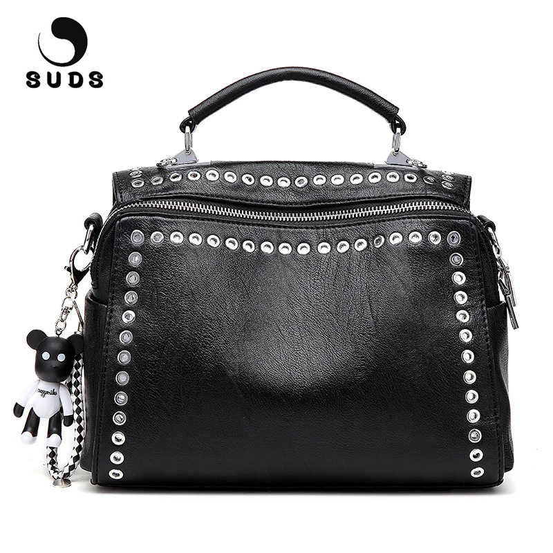 9a9486d73f54 SUDS Brand Vintage Leather Rivet Shoulder Bag European And American Style  Women Multifunction Crossbody Tote Bags