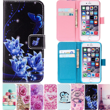 Art Painting Owl Flower Wallet Flip Leather Cover Soft Case For apple iphone 6 6s 7 Plus / 4 4s 5 5s SE 5C