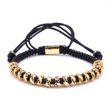 Mcllroy Popular 7mm Zircon Ball Bracelet Micro CZ Paved with Gold Braiding Men Macrame Bracelet Summer Zircon Lace up Men's(China)