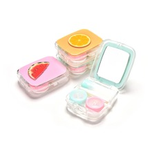 DIY Acrylic Cute Color Fruit Watermelon Orange Contact Lens Case For Eyes Contact Lenses Box For Glasses 4 Styles(China)