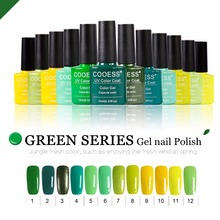 COOESS 10ML Soak off UV Gel Nail Polish Green color series Top Coat Base coat