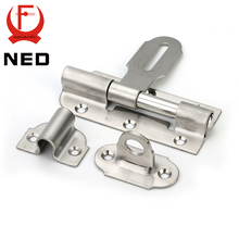 NED-5111 304 Stainless Steel Door Bolt Security Guard Lever Action Flush Latch 6 inch Slide Bolt Lock For Furniture Hardware(China)