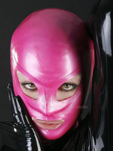 Buy New Anatomical Latex Mask Pink Rubber Fetish Latex Hoods Masks Sexy Mouth Eyes Condom Rubber customized catsuit costume