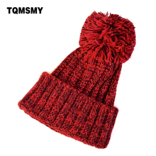 Fashion Autumn and winter knitting wool hat men and women winter cap Lovely hair ball beanies bone gorros accessory colorful new(China)