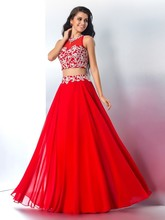 2016 Red A-line Chiffon Two Pieces Long Prom Dresses Beaded Crop Top Sleeveless 2 Pieces Prom Party Dresses Evening Wear