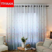 Flower Printed Blue Window Treatment Tulle Curtains Fabric For Living Room Voile Chiffon Curtains Drapes For Bedroom AG102&2(China)