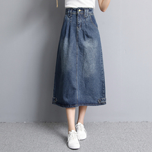 Spring autumn clothing plus size max slim all-match high waist denim medium-long preppy style half-length skirt a-line skirt